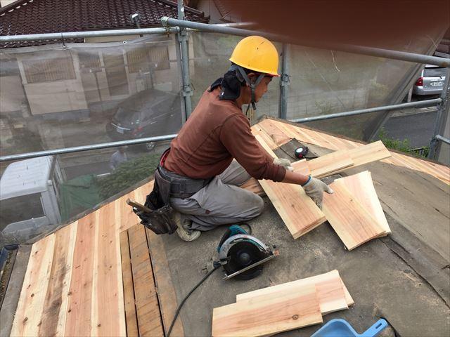 岡山市南区 屋根工事 屋根リフォーム 化粧野地板取り替え