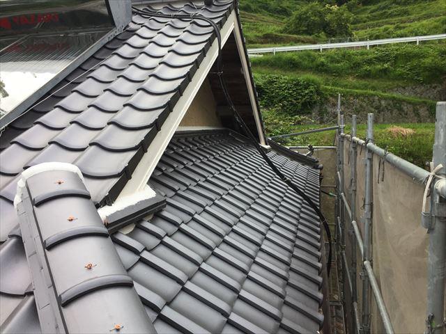岡山県久米南町 屋根工事 屋根リフォーム 入母屋側