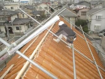 岡山市南区 屋根瓦修理 棟解体組み立て 強力棟垂木取付け