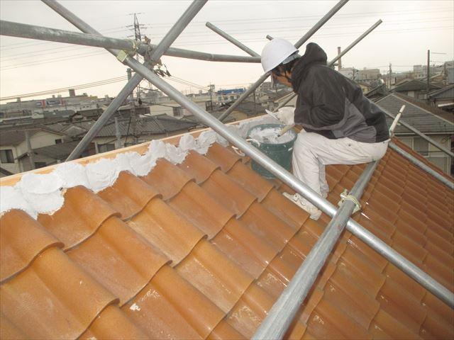 岡山市南区 屋根瓦修理 棟解体組み立て 南蛮漆喰