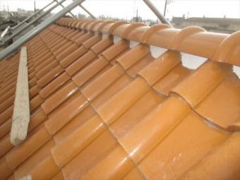 岡山市南区 屋根瓦修理 棟解体組み立て 7寸丸取付け