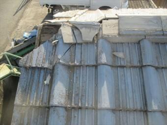 倉敷市 屋根修理 棟瓦補修工事 割れ瓦