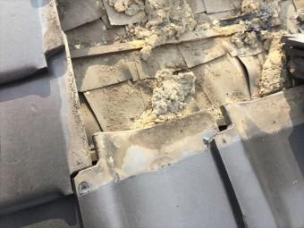 岡山市北区 屋根工事 雨漏り修理 瓦をめくった所