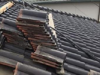 倉敷市 S型の瓦はがします。