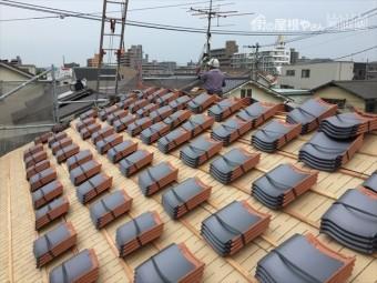 岡山市北区 屋根工事 屋根リフォーム 地瓦配り方