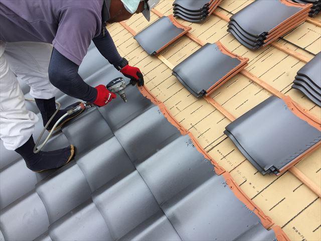 岡山市北区 屋根工事 屋根リフォーム 瓦釘打ち