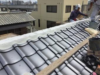 岡山市北区 屋根工事 棟施工