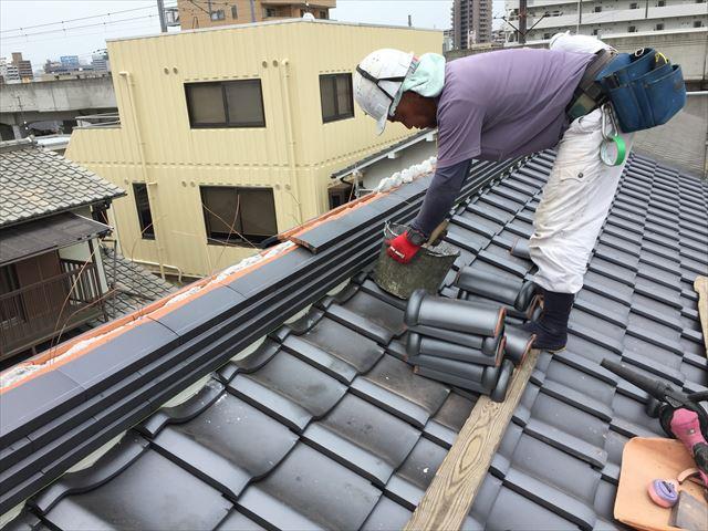 岡山市北区 屋根工事 屋根リフォーム 棟工事