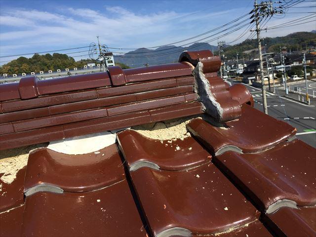 岡山県津山市 屋根修理 棟崩れ