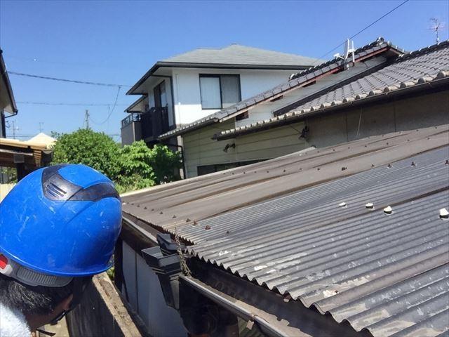 岡山市南区でカーポートの樋の雨水が隣のお宅の庭に落ち調査依頼