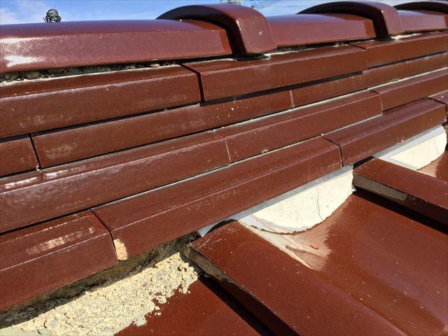 岡山県津山市 屋根修理 三日月漆喰の欠落