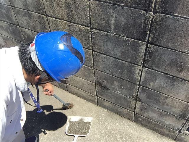 岡山市南区でブロック塀掃除