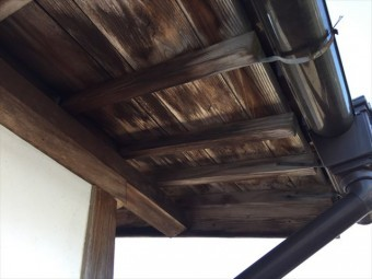 岡山県津山市 屋根修理 野地板雨漏り跡