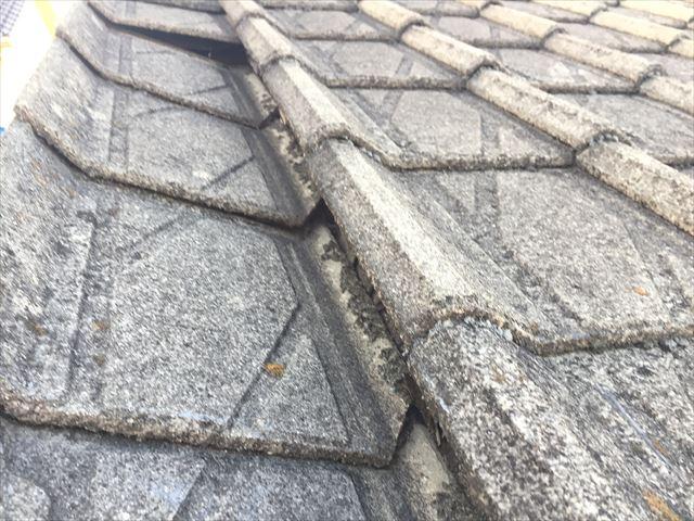 玉野市で下地が腐り、今に落ちそうな瓦屋根の袖瓦の雨漏り修理