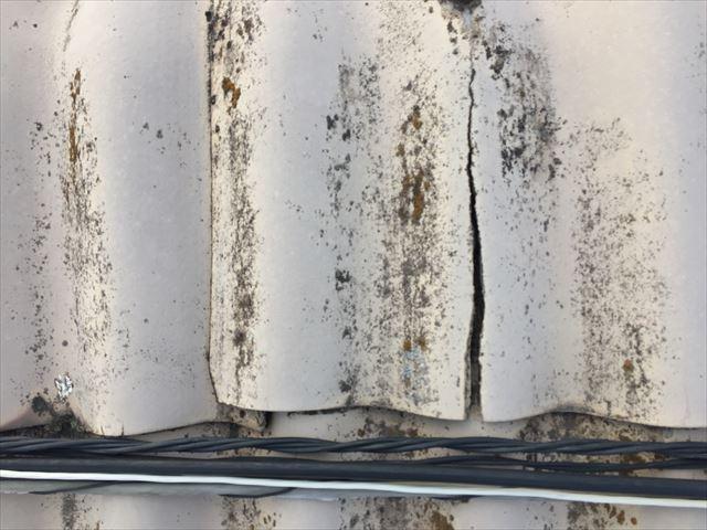 岡山市東区 スレート屋根修理の点件 スレートの割れ