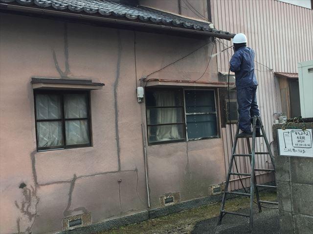 岡山市北区 雨漏り点検 外壁塗装 水洗い