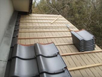 津山市で屋根修理 瓦葺きあげ工事
