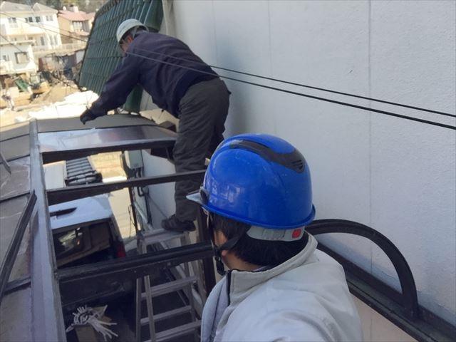 岡山市中区 カーポートの屋根材張リ替えの確認です。