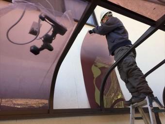 岡山市中区 カーポートの屋根材張り替えポリカに