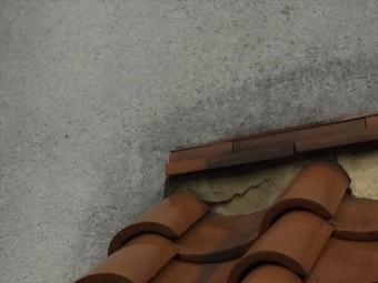 岡山市北区 急勾配の屋根の修理 三日月漆喰にひび