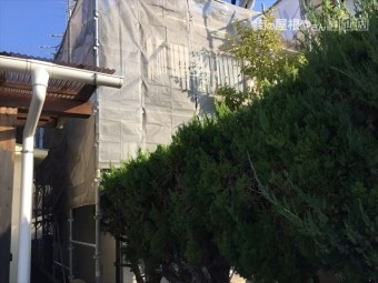 岡山市北区 屋根工事 養生足場