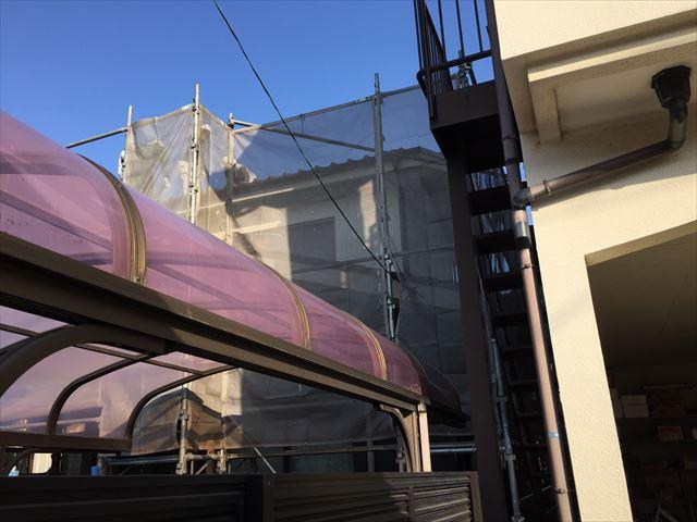岡山市北区 屋根工事 養生足場設置