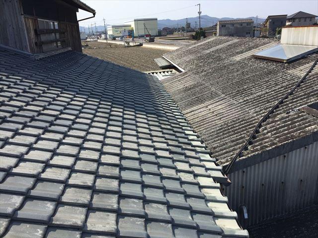 岡山市南区 太陽熱温水器撤去スレート点検
