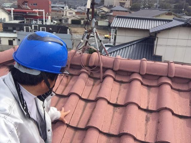 岡山市南区で塗装のいらない屋根材に取り換え/セメント瓦の現調