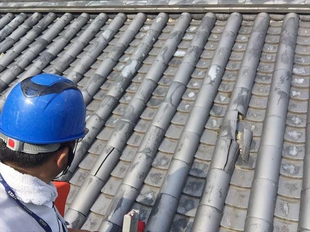 岡山市北区で屋根瓦が割れているので予備瓦を使って差し替え依頼