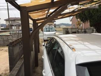 総社市 カーポートの屋根修理。