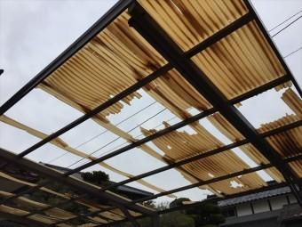 総社市 カーポートの屋根壊れました