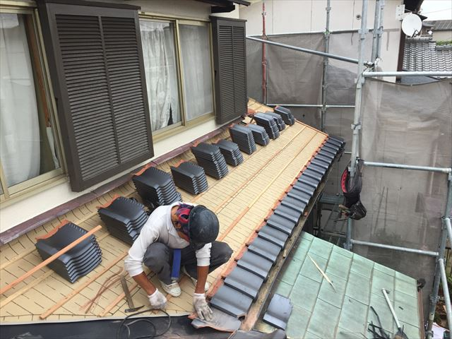 岡山市南区 屋根工事 雨漏り修理 軒瓦取付け