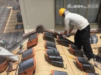 岡山市南区 屋根工事 雨漏り修理 瓦配り