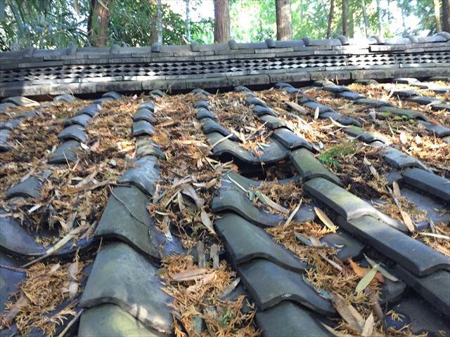 井原市で神社の雨漏り修理/地瓦伏せ替え工事行っています。