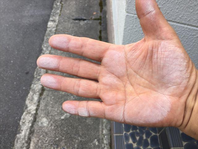 岡山市北区 外壁塗装 チョーキング