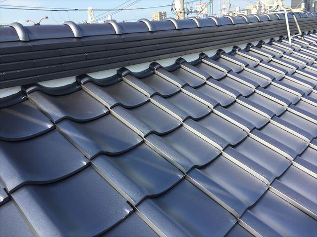岡山市北区 屋根工事 屋根リフォーム 2階瓦工事完成です