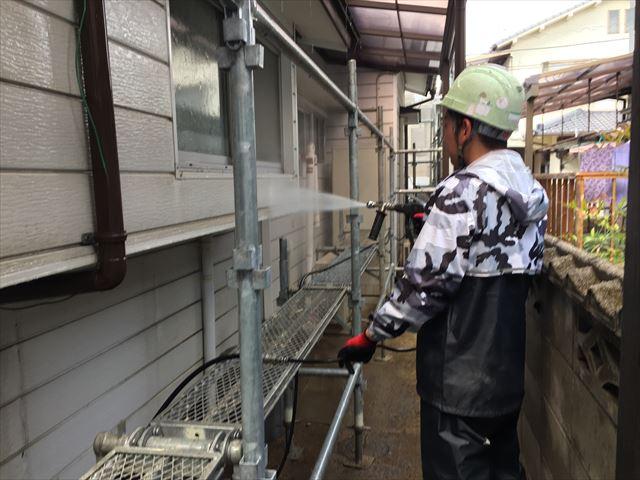 岡山市北区 外壁塗装  高圧洗浄