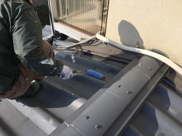 岡山市中区 屋根塗装 下地処理