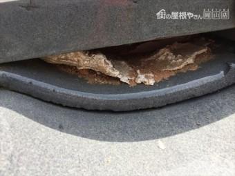 赤磐市で雨漏り修理 三日月漆喰欠落