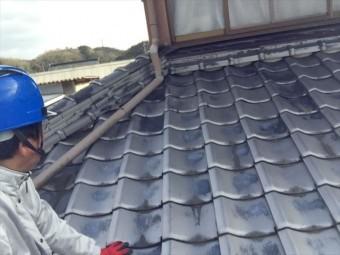 赤磐市 屋根に上がり点検