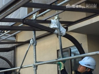 岡山市北区 屋根瓦葺き替え工事 養生足場