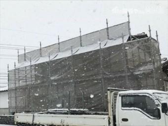 津山市 棟積み直し 養生足場