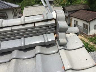 赤磐市で雨漏り修理 鬼のところの漆喰欠落