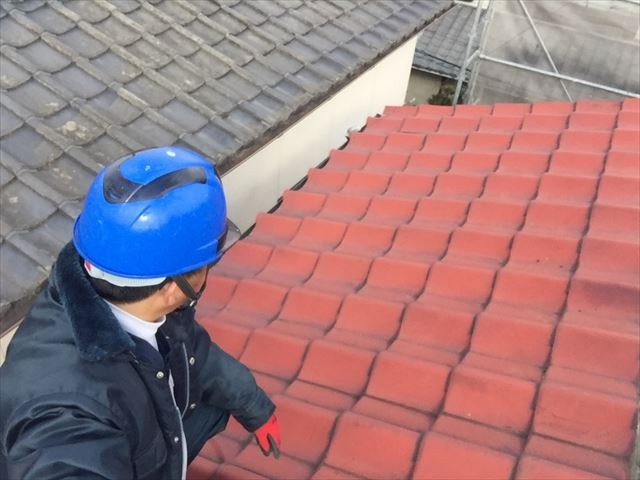 岡山市北区 瓦屋根葺き替え工事 セメント瓦点検