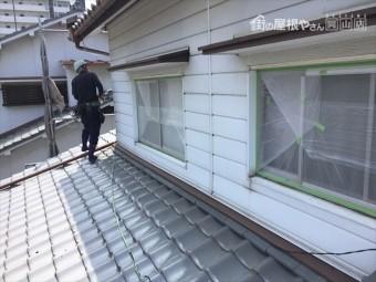 岡山市北区 外壁塗装 サッシ廻り養生
