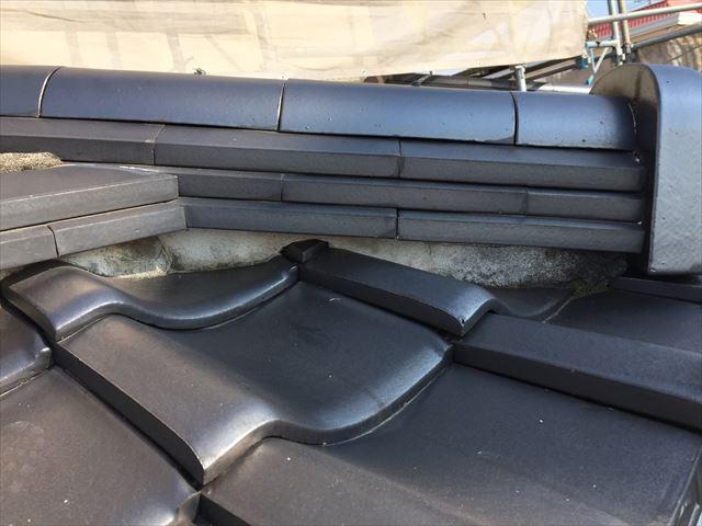 岡山市南区 屋根瓦修理 漆喰入れ替え工事