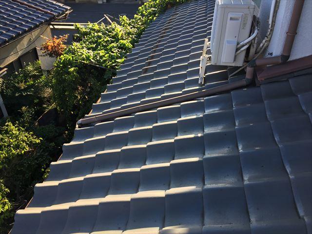岡山市南区で築48年経過した淡路瓦の和形タイプの瓦屋根調査
