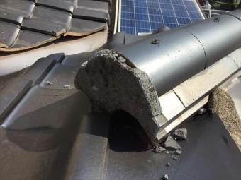 岡山市南区 屋根補修工事 漆喰欠落