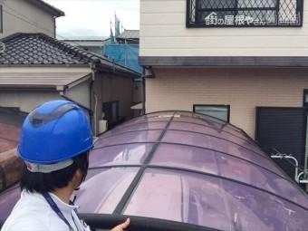 岡山市中区でカーポートの屋根取り換え