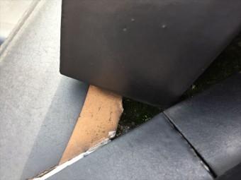岡山市南区 屋根補修工事 東鬼の横の漆喰欠落